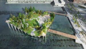 """Il parco galleggiante di New York """"Little Island"""" apre oggi"""